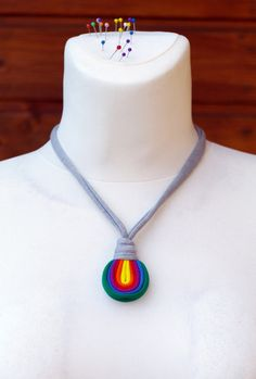 Unique, upcycled fiber single pendant necklace in rainbow colors. It is antiallergic and babyproof, whats more, give it to your baby, it will be great