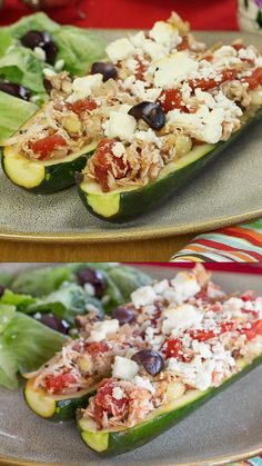 Greek Chicken Stuffed Zucchini Boats Greek Chicken Stuffed Zucchini Boats an easy low carb and gluten free dinner with Mediterranean inspired flavors and ingredients including Kalamata olives feta oregano and tomatoes chickenrecipe glutenfree lowcarb Chicken Zucchini Boats, Zucchini Boat Recipes, Stuffed Zucchini Recipes, Stuffed Zucchini Boats, Grilled Zucchini, Greek Recipes, Low Carb Recipes, Cooking Recipes, Healthy Recipes