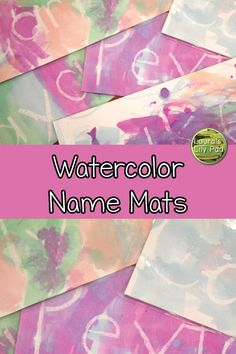 Watercolor Name Mats for preschool or PreK. Use a white crayon and surprise your students when their names appear. Preschool First Week, Name Activities Preschool, Name Writing Activities, All About Me Preschool, All About Me Activities, Friend Activities, Pre K Activities, Color Activities, Preschool Crafts