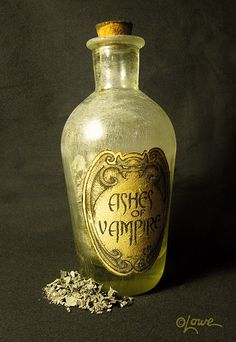 Vampire Ashes... I really want to make my own Potions stores... Think of all the different things you could make?! Of course, it'd have to go in the kitchen spice cabinet.