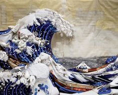 Bernard Pras // uses only found objects in his creations and literally turns trash into treasure. Look closely and you'll find everuthing from toilet paper and soda cans to slinkies and bird feathers. This is Pras' reinterpretation of Hokusau's 'The Great Wave'