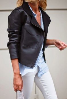 ffb70b3edf Fab leather blazer and button up w toothpick skinnies for that