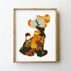 Little Lion silhouette cross stitch pattern - Cross Stitch Pattern (Digital Format - PDF) Cross Stitch Art, Counted Cross Stitch Patterns, Cross Stitch Designs, Cross Stitching, Cross Stitch Embroidery, Embroidery Patterns, Hand Embroidery, Lion Silhouette, Pixel Art