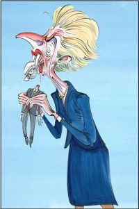 Margaret Thatcher and John Major by Gerald Scarfe