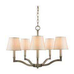 Golden Lighting Waverly Antique Brass Five Light Chandelier With Silken Parchment Shade On SALE