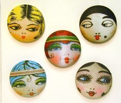 Flapper Sewing Button Set Hand Printed Assortment  by buttonfun