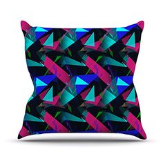 KESS InHouse AC1054AOP03 18 x 18-Inch 'Alison Coxon Confetti Triangles Dark Magenta Blue' Outdoor Throw Cushion - Multi-Colour *** To view further for this article, visit the image link. #GardenFurnitureandAccessories