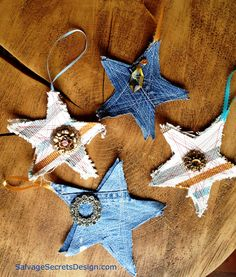 These are so easy to make -- some scrap pieces of denim, a sewing machine and vintage brooches. This tree ornament is perfect for any country Christmas and makes great gift wrapping package toppings as well.  Joanne Palmisano  www.SalvageSecretsDesign.com