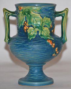 Roseville Pottery Bushberry Blue Handled Vase 156-6 from Just Art Pottery