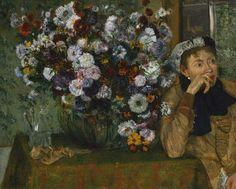 Une femme assise à côté d'un vase de fleurs, par Édgar Degas