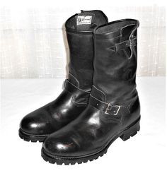 Chippewa Men's Black Leather Motorcycle Steel Toe Boot Made in USA Size 10 EE #Chippewa #MotorcycleRidingBoot