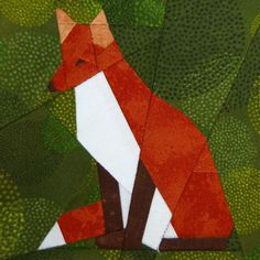 Red Fox paperpiecing quilt pattern PDF by SchenleyP on Etsy