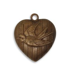 Vintaj Brass Heart Charm Pendant Antiqued by JanuaryGirlSupplies