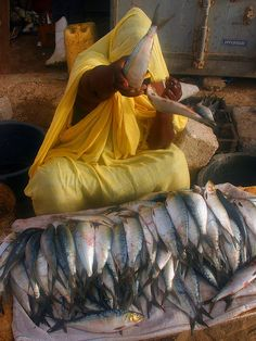 This lady at the fish market in Nouakchott was not too happy when I tried to take her photo. Her smile returned quickly when I bought some of her fish for the taxi driver who took me to the market. June 2008 Mauritania Oups ... by Ferdinand Reus, via Flickr