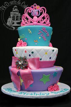 Brenda's 50th birthday cake - tiaras, bows, edible gems, etc!