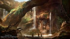 View an image titled 'Waterfalls Art' in our Dragon Age: Inquisition art gallery featuring official character designs, concept art, and promo pictures. Dragon Age Inquisition, Dragon Age Origins, Fantasy Places, Fantasy World, Fantasy Art, Final Fantasy, Environment Concept, Environment Design, Desert Environment