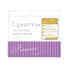 Quality First All in One Mask Premiumcontains 50 different kinds of ingredients includingproteoglycan which keeps moisture better than Hyaluronan and anti-aging concentrated fermentation extract.Quality First mask sheets are preservative-free and produced in Ehime Prefecture, Japan. Quality First ischosenas the most popular mask sheets at Cosme.net, the biggest online platformfor cosmetic products in Japan. Producer:Quality First Country of Manufacture: Japan Quantity: 30 sheets…