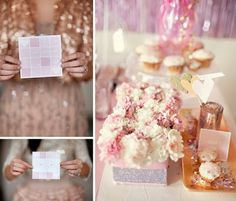 gold and baby pink tablescape