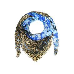 Roberto Cavalli Shawls & Wraps Blue Paint Splash & Leopard Print Modal... ($410) ❤ liked on Polyvore featuring accessories, scarves, blue, shawls & wraps, blue scarves, leopard print scarves, leopard shawl, leopard scarves and roberto cavalli scarves