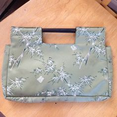 """WaBag Flower Print Clutch Great, light moss green, excellent condition. 10.5"""" x 7.5"""" WaBags Bags Clutches & Wristlets"""