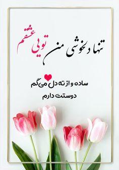 کارت پستال تنها دلخوشی من، تویی، ساده و از ته دل میگم، عشقم، دوستت دارم - عشق - فریدون