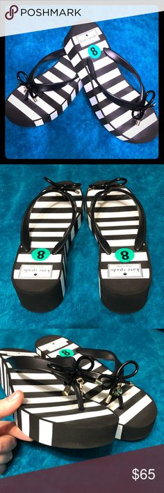 NWT Kate Spade Striped Platform Sandals Fabulous black and white striped Kate Spade ♠️ sandals.  Brand new, never worn.  Purchased from TJ Maxx, but 1/2 size too small for me.  There is no price tag on them, but the size sticker tags are intact.  The shoes are in new condition, but due to them being on display, there is a VERY minor scratch on the inside where your foot covers.  So insignificant, but wanted to point it out - see final photo for a close up.  Any other questions just ask…