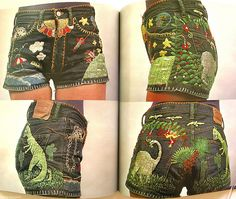 Incredible embroidered shorts from the 1975 bookAmerican Denim.     I had a pair of pants that mama embroidered for me in the 4th grade in 1975.  I wish I still had them.