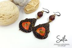 "Long Earrings ""Mysterious East"" - made from Polymer Clay! by SweetyBijou on Etsy"
