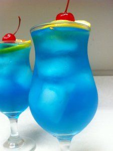 Blue Long Island Ice Tea - 1/2 oz Vodka; 1/2 oz Tequila; 1/2 oz Rum; 1/2 oz Gin; 1/2 oz Blue Curacao. Combine over ice & garnish with pineapple, lemon, or orange slice.