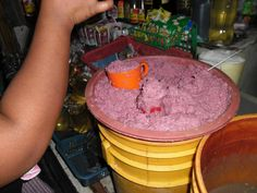Pale colored bagoong is openly peddled by cups