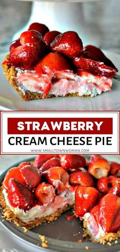Strawberry Cream Cheese Pie is an easy to make sweet treat perfect for birthday celebrations Valentines Day and spring and summer dinner parties! You and your family are going to love this easy dependable scrumptious and gorgeous dessert. Save this pin! Strawberry Cream Cheese Pie, Strawberries And Cream, Strawberry Topping, Strawberry Cheesecake, Deserts With Cream Cheese, Pineapple Cheesecake, Köstliche Desserts, Delicious Desserts, Dessert Recipes