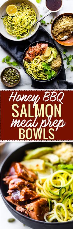 These Honey BBQ Baked Salmon Bowls are the perfect meal prep recipe for a make ahead lunch or quick dinner. Protein Packed, Gluten Free, and Dairy Free. A healthy meal ready in 30 minutes! http://www.cottercrunch.com