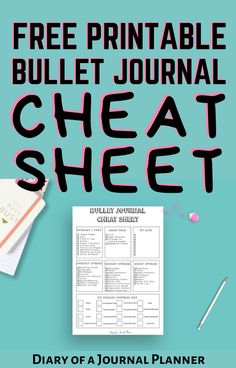 Become a bullet journal pro with this free printable bullet journal cheat sheet! Get yours in time for the new school year! #freeprintable #Bulletjournalprintables #bujo #Bulletjournalcheatsheet #bulletjournalhacks Bullet Journal Cheat Sheet, Bullet Journal Daily Spread, Bullet Journal Headers, Bullet Journal For Beginners, Bullet Journal Font, Bullet Journal Tracker, Bullet Journal Printables, Bullet Journal Hacks, Bullet Journal Inspiration