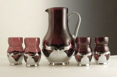Rare set of Cambridge amethyst glass with Farber Brothers clip-on-clip-off non-tarnishing Krome-Kraft holders, mid. 1920-1930s