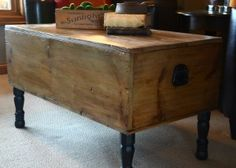 Make a wooden trunk into a coffee table!  Bill could so make this!