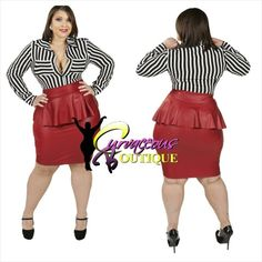 ● □ NEW ARRIVAL ● □   BLACK n WHITE STRIPE SHIRT  RED FAUX LEATHER PEPLUM SKIRT   ( MODEL WEARING 1X )   SIZE :  1X  2X  3X     SKIRT COLORS :  BLACK  PINK  RED    WWW.CURVACEOUSBOUTIQUE.COM & IN STORE   { { VISIT THE WEBSITE FOR ALL DETAILS & PRICE } }