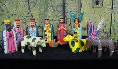 Colorful Folk Art 11 piece Nativity Set Hand Carved & Painted Mexican Chirstmas