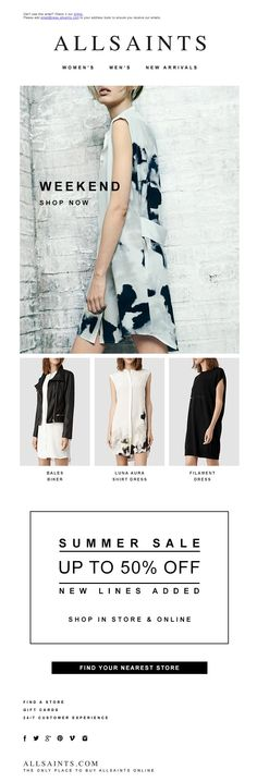 #newsletter Allsaints 06.2014 Dress For The Weekend | Further Sale Markdowns This Week
