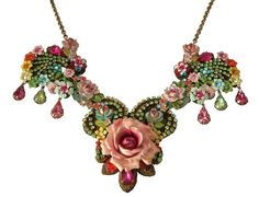 Victorian Style Michal Negrin Necklace with A Center Rose and Tear Drops Accents | eBay
