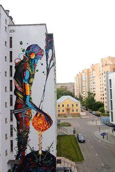 Nuovo pezzo dello street artist spagnolo DEIH in Bielorussia.                                                                                                                                                     More