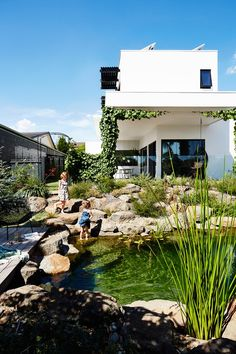 Sustainable House Melbourne - The plan was ambitious, but this couple's smart design decisions delivered a sustainable, energy- - Simple Landscape Design, Landscape Designs, Sustainable Design, Sustainable Energy, Sustainable Houses, Sustainable Living, Natural Swimming Pools, Landscape Plans, House Landscape