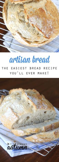 This artisan bread recipe is so easy to make and turns out amazing! It only takes 4 ingredients and 5 minutes of hands on time for crusty, delicious bread! How to make bread. Crazy easy homemade artisan bread {only 4 ingredients!} - It's Always Autumn Artisan Bread Recipes, Easy Bread Recipes, Baking Recipes, Simple Bread Recipe, Healthy Recipes, Rosemary Bread, Bariatric Recipes, Artisan Bread Recipe For Bread Machine, Snacks