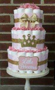 princess baby shower diaper cake