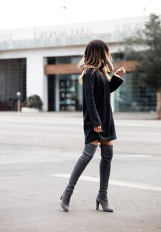 Pam Hetlinger - Blogger, The Girl From Panama, styles an oversized sweater with thigh high boots