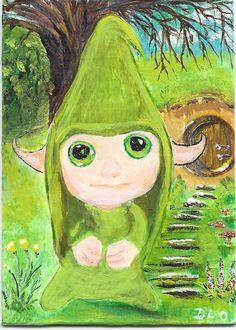 ACEO TW Mar Original Acrylic Painting Elf Hobbit Gnome Green ArtbyDelo #Miniature