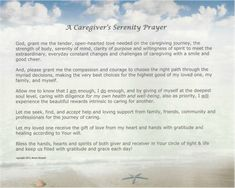 Caregiver's Serenity Prayer, pinned from www.CaregiverWellness.biz - free to download as a PDF file