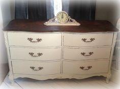 antique white distressed dresser with walnut top