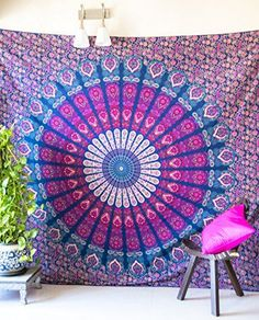 Folkulture Peacock Parade Bohemian Tapestry Hippie Wall Hanging, Indian Mandala Bedspread for Bedroom, Blue Bedding Blanket or College Dorm Room Art Décor, Queen Size Cotton Pink Purple Boho Spread ** Want additional info? Click on the image.