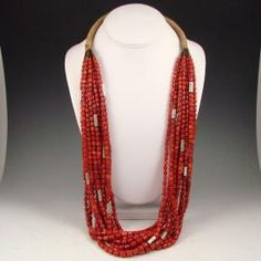 12 strand coral and sterling necklace. Richard Abeyta, Santo Domingo Pueblo
