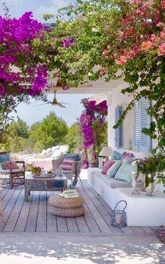 Pergola: Outdoor living with overhanging, colorful flowers and abundant plant life-outdoor living room. Outdoor Areas, Outdoor Rooms, Outdoor Living, Outdoor Decor, Outdoor Stone, Rustic Outdoor, Outdoor Seating, Gazebos, Balkon Design